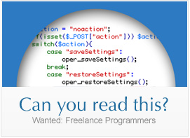 Can you read this? Wanted: Freelance Programmers.